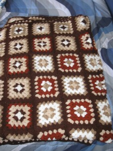 Crocheted Afghans I made of Granny squares in brown, tan